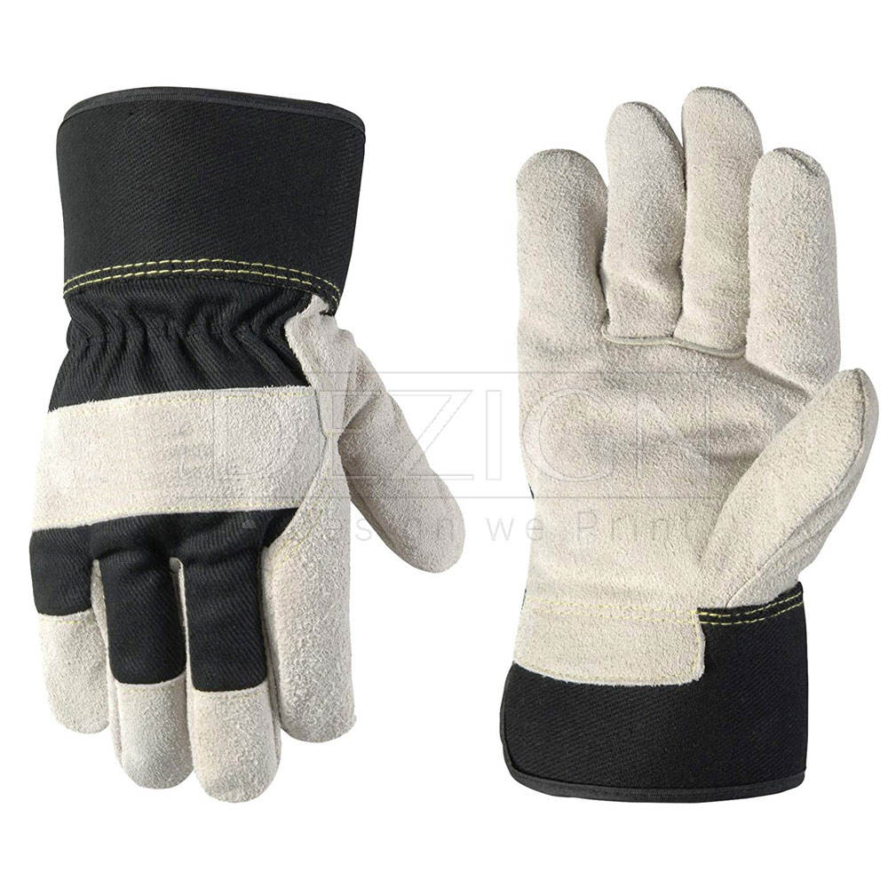 """Cheap short 10.5"""" custom logo designed heavy duty cow split double palm leather safety work hand protect gloves price men"""