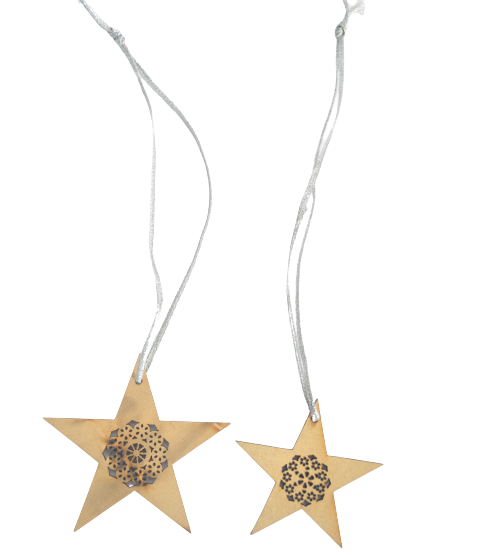 WOOD STAR HANGING ORNAMENT WITH SNOWFLAKE DESIGN