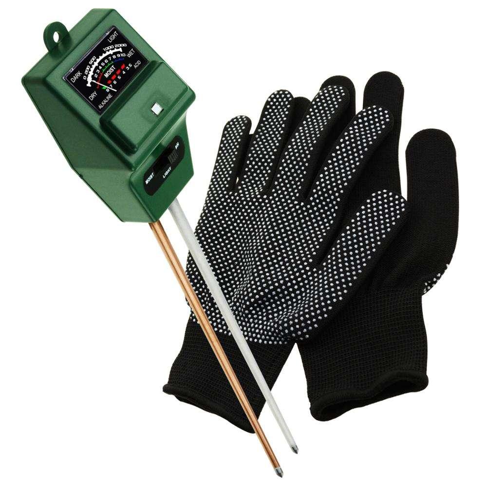 SQM-256G_GLOVE Toprak pH, Nem ve Işık Ölçer 3 Yollu Test Kiti (Yeşil, Tek Kullanımlık Eldivenler) Çimen Kapalı Ev Bahçe