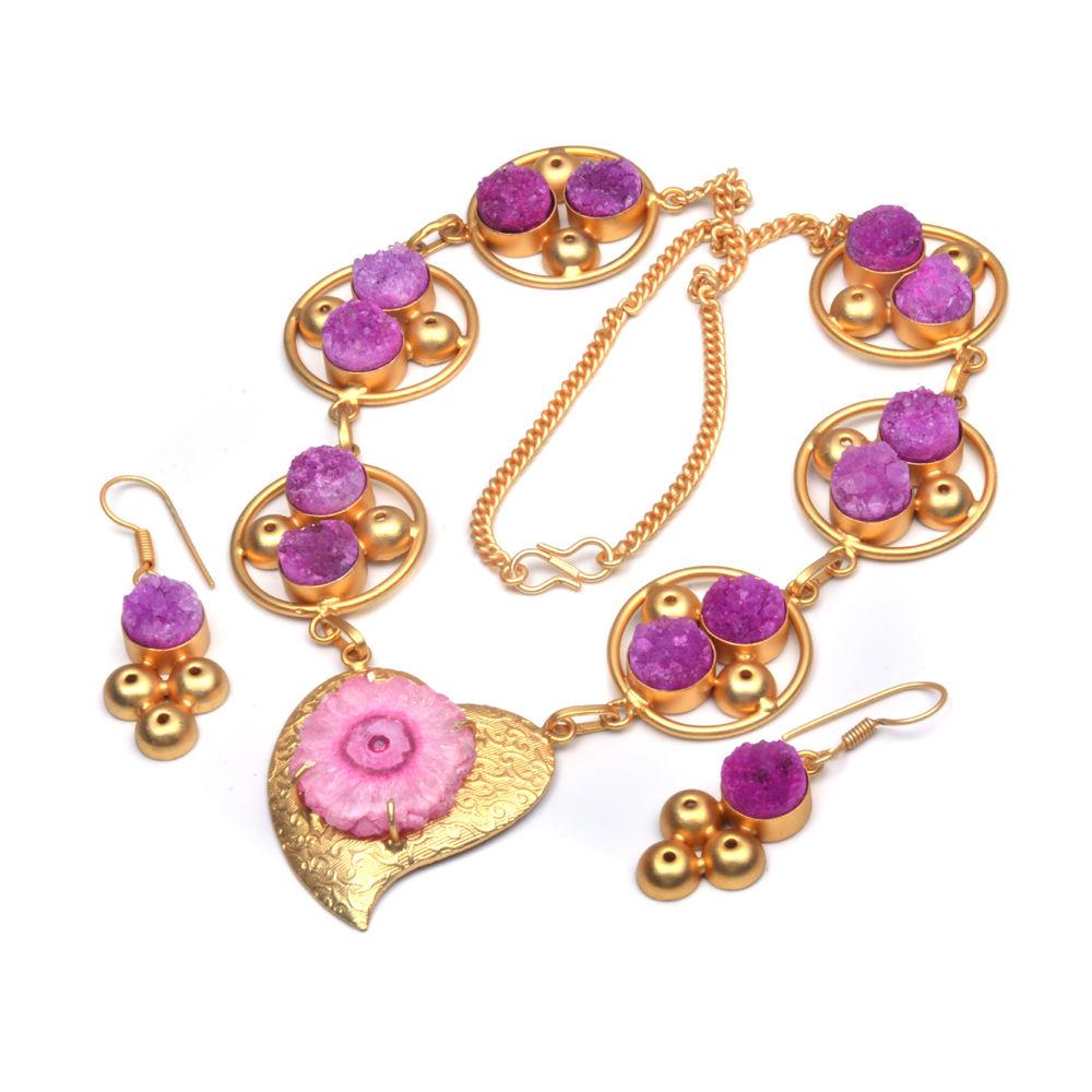 Natural de color rosa cuarzo solar Rosa azúcar druzy día de año nuevo de moda chapado en oro collar de la joyería pendiente
