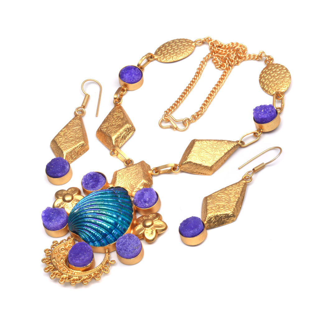 azul azúcar druzy día de Año Nuevo de piedras preciosas de joyería de chapado en oro Collar personalizado collar de pendiente