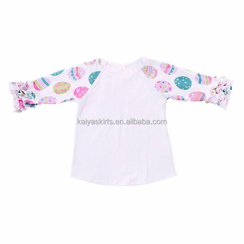 Детская Бутик Одежда Оптовая Мода печати Топы корректирующие пасхальное яйцо реглан рябить рубашка для обувь девочек
