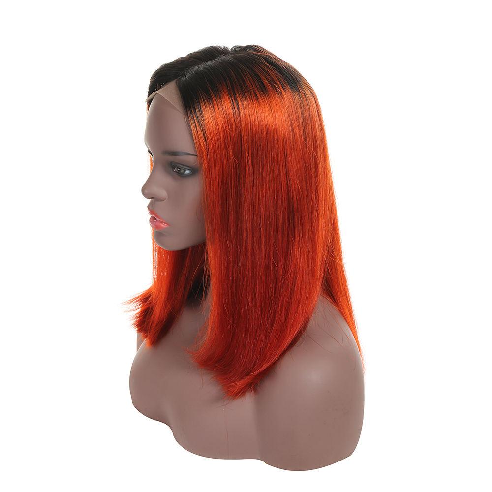 Al por mayor de calidad superior de la parte media naranja pelo humano peluca delantera del cordón con el pelo del bebé