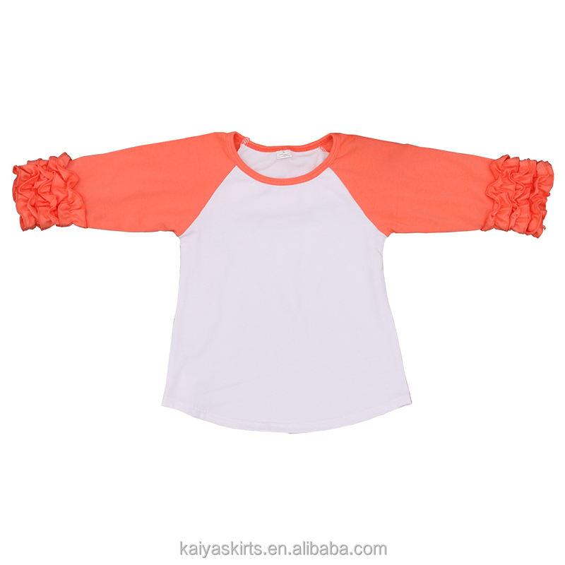 Новые Модные осенние топы для девочек; оптовая продажа; однотонные рубашки; Детские рубашки с рукавами реглан и рюшами
