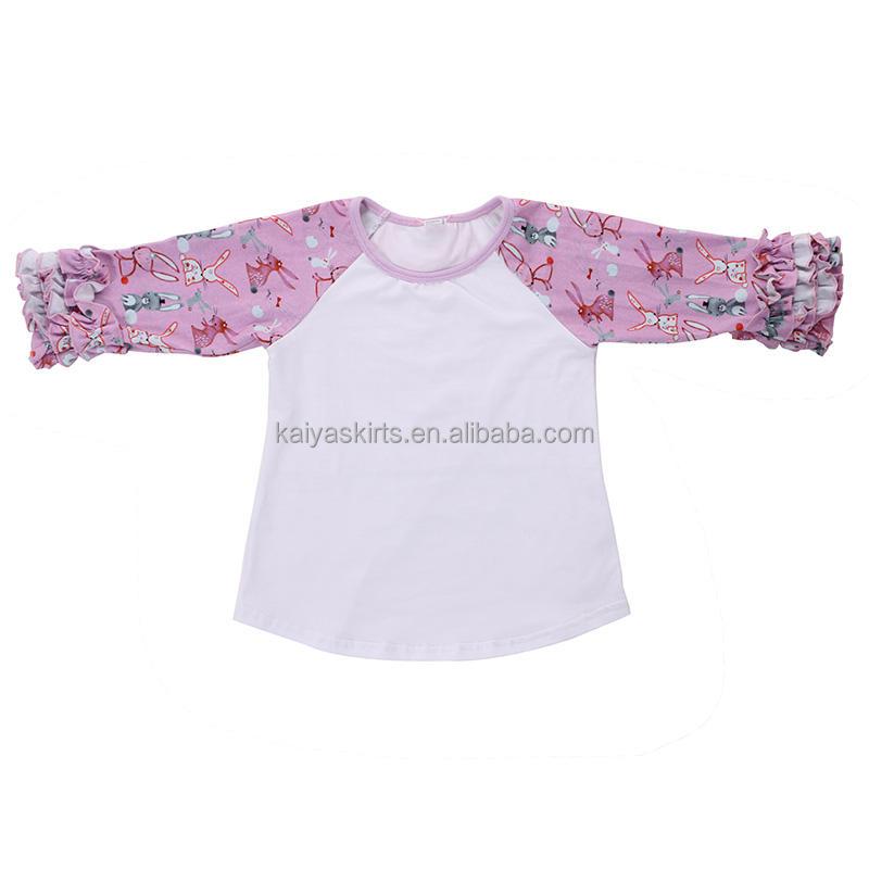 Реглан рубашка с рюшами малышей модные полосатые топы для обувь девочек оптовая продажа детей Бутик Одежда