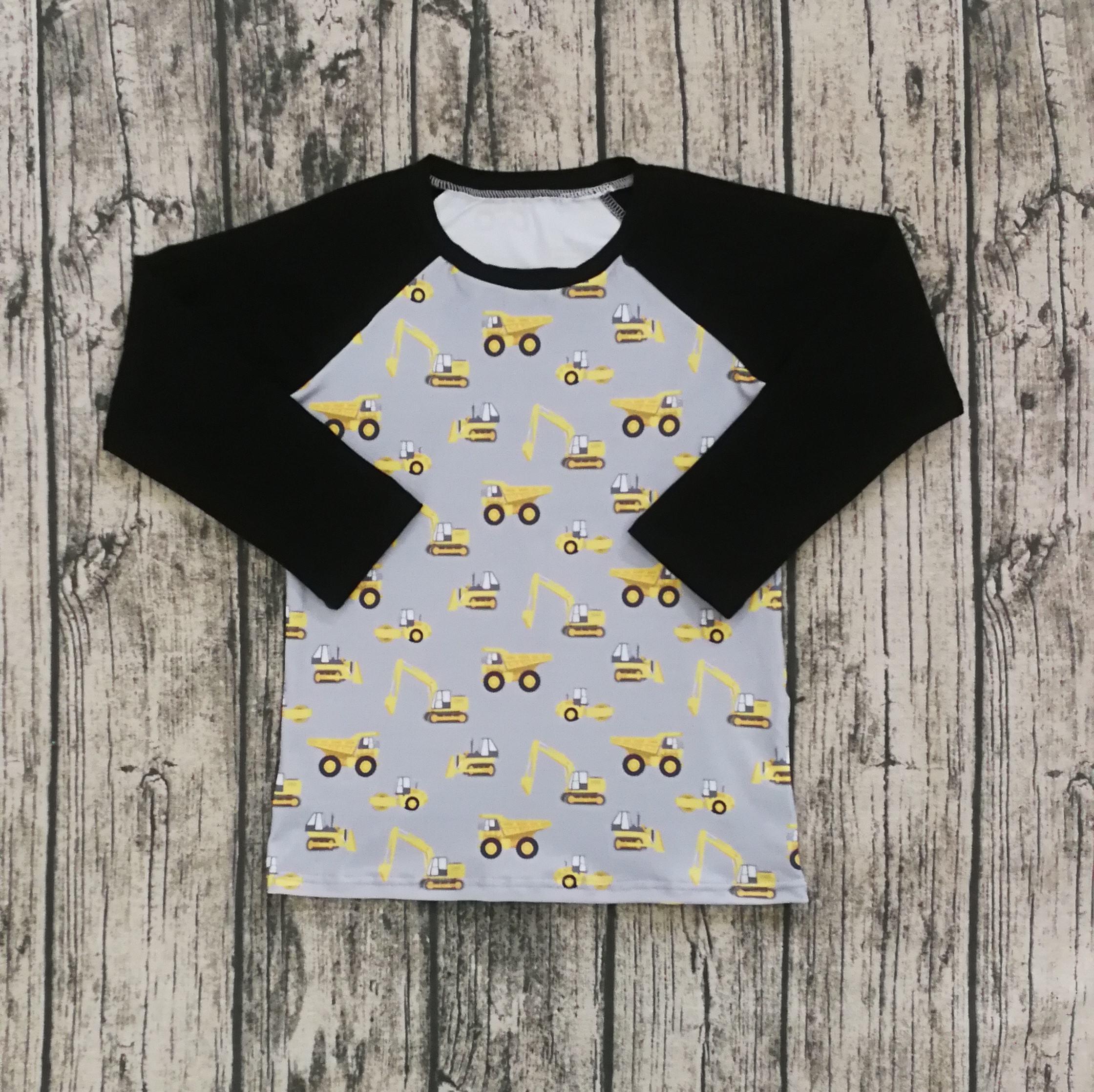 Детская одежда оптовая продажа детей Бутик Одежда с длинным рукавом печатных Желтый трактор реглан футболка для мальчиков