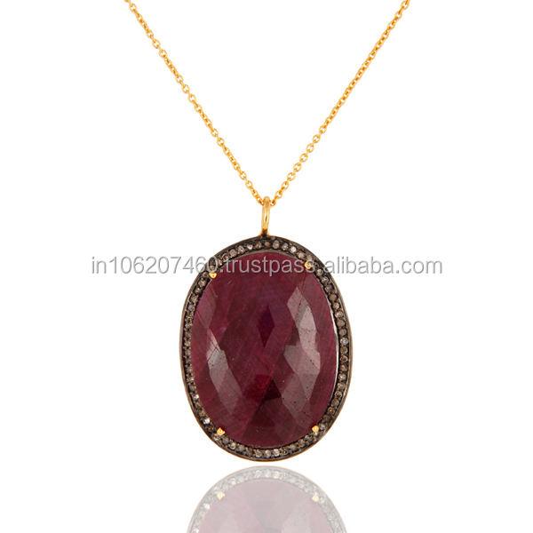 <span class=keywords><strong>Rubis</strong></span> naturel pavé de diamants pendentif, Sterling Silver Gemstone pendentif bijoux fabricant