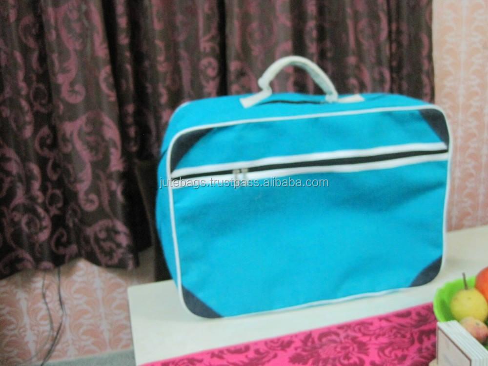 Túi đay màu xanh có tay cầm tay màu trắng sản xuất bằng MLG quốc tế