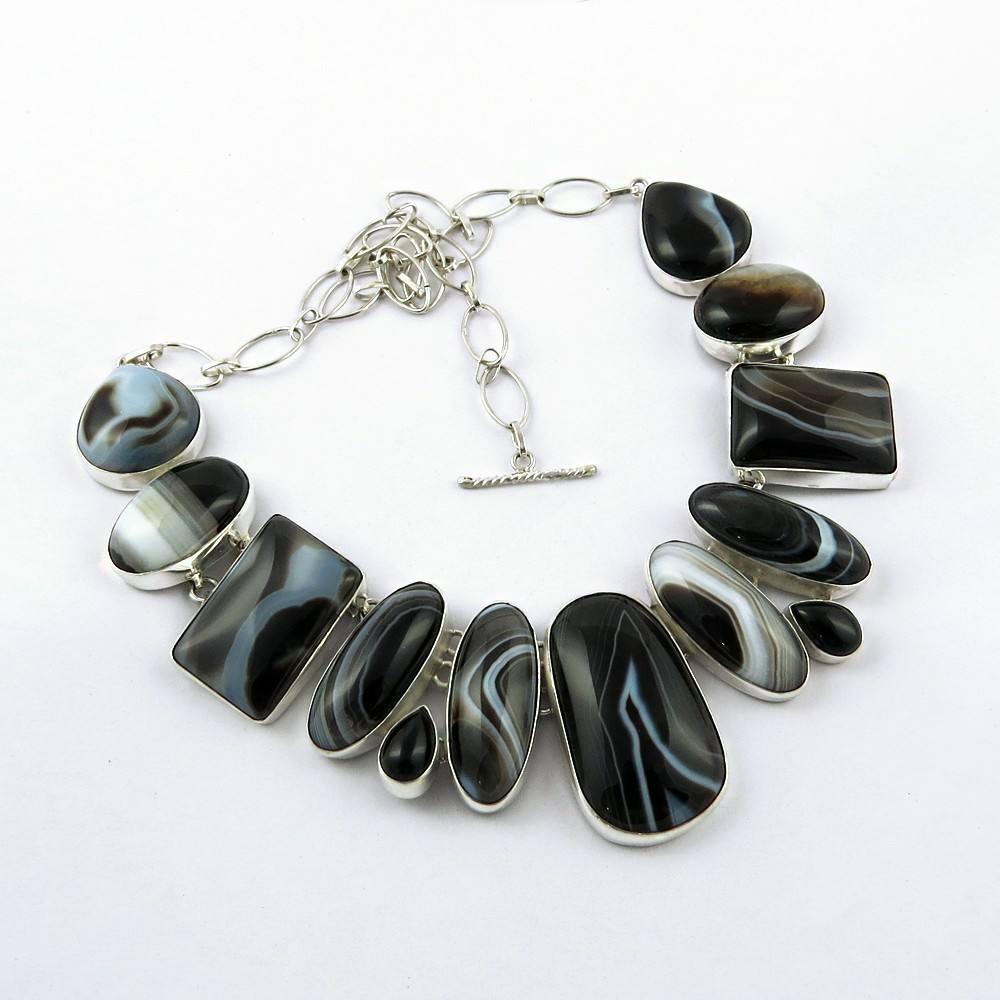 Sempre brilhante preto onyx, bootswana 925 de ágata colar de prata esterlina, gemstone <span class=keywords><strong>jóias</strong></span> de prata, <span class=keywords><strong>jóias</strong></span> de prata artesanais