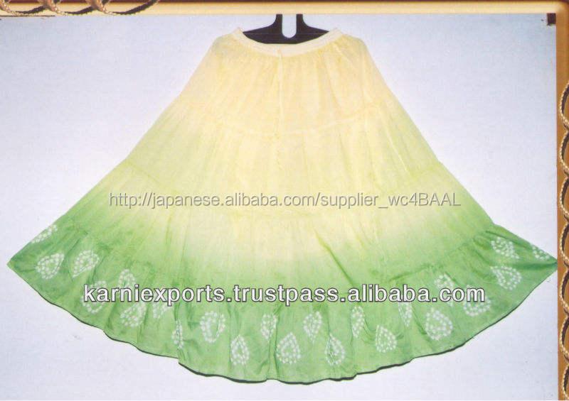 Jaipuri民族の伝統的なベリーダンスのタイダイコットンスカート・/jaipuri100%bandhani作業綿のスカート