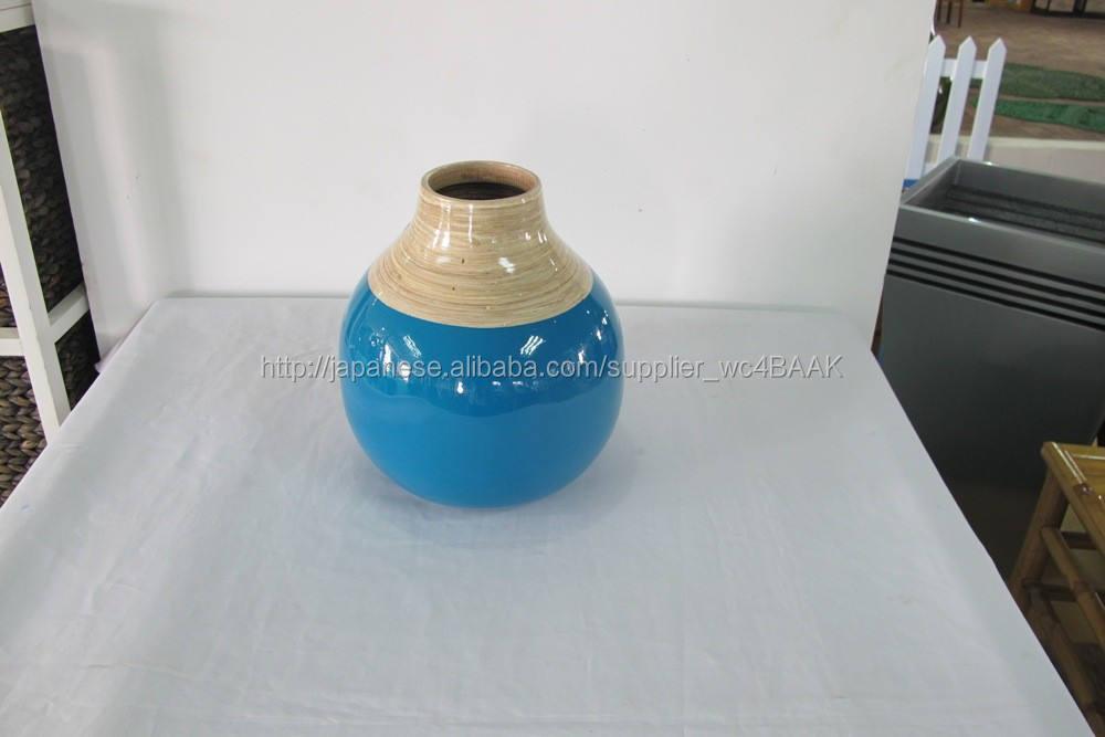 ベトナム手作りcoield竹の花の花瓶、 スピン竹花瓶