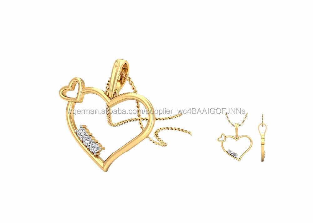 Vergoldet Designer CZ Studded Drei Solitaire Herz Anhänger