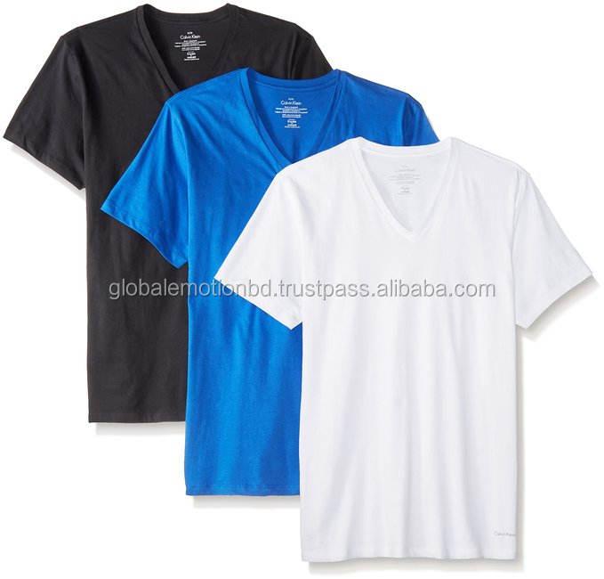 Deep V-Neck combed cotton plain t shirts wholesale Bangladesh , latest design