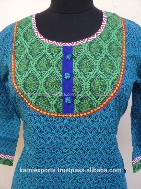 Mult color de flower printed cotton ladie 's kurta patrón mayoristas largo india kurtis