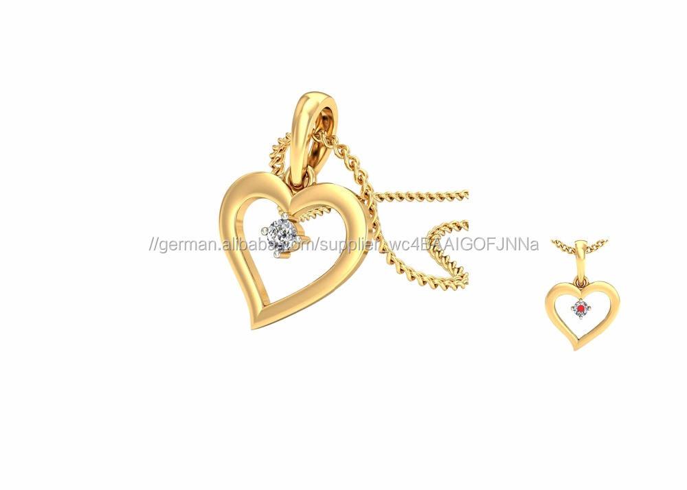 Indische Künstlichen Gold Überzogene Kleine CZ Edelstahl-kristallbolzen-herz Anhänger