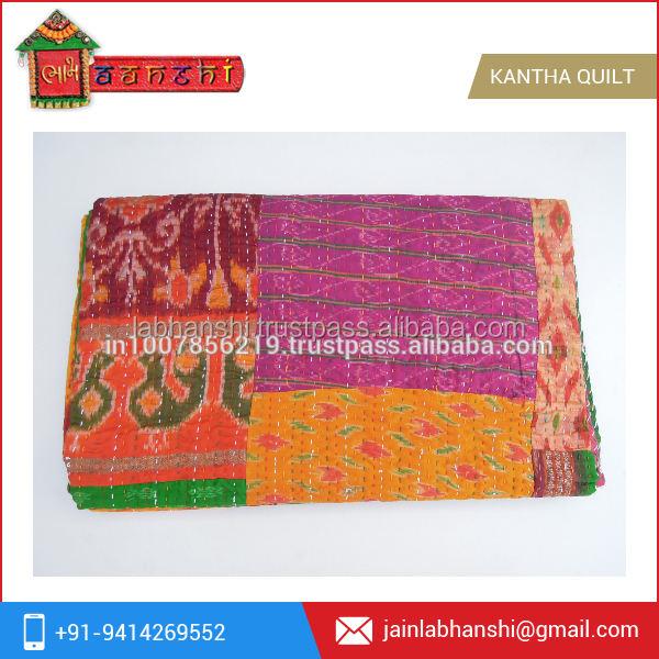Hecho a mano de edad patola seda sari kantha acolchado indio de la vendimia lanza, ralli, ropa gudari patchwork colchas