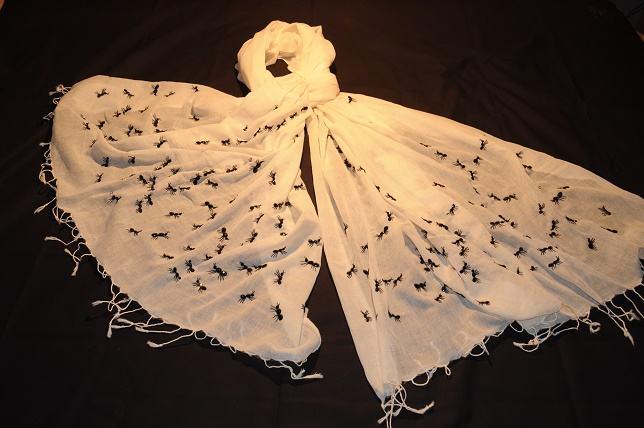 mano ricamo lavoro tallone su 100 per cento di cotone intrecciato a mano sciarpa