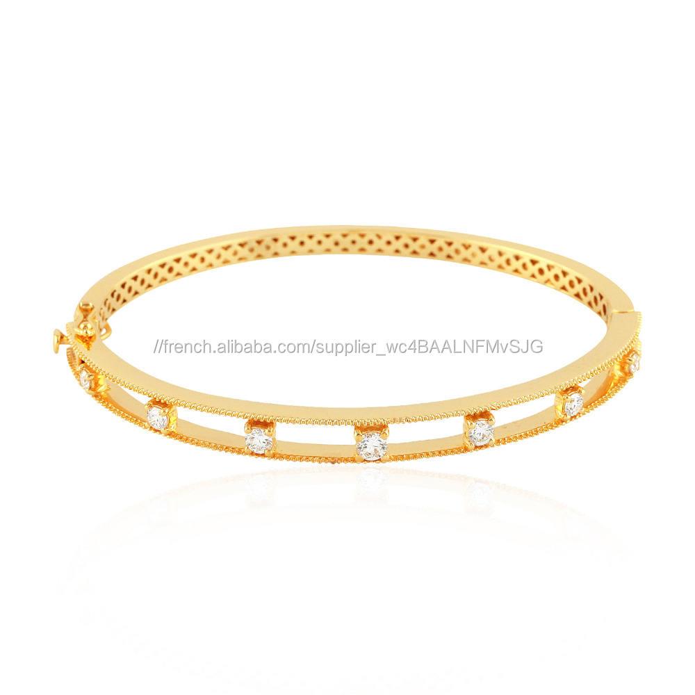 18kt Solid Or Jaune Prong Diamant Designer Mère Jour Bracelets <span class=keywords><strong>Bijoux</strong></span> En Gros