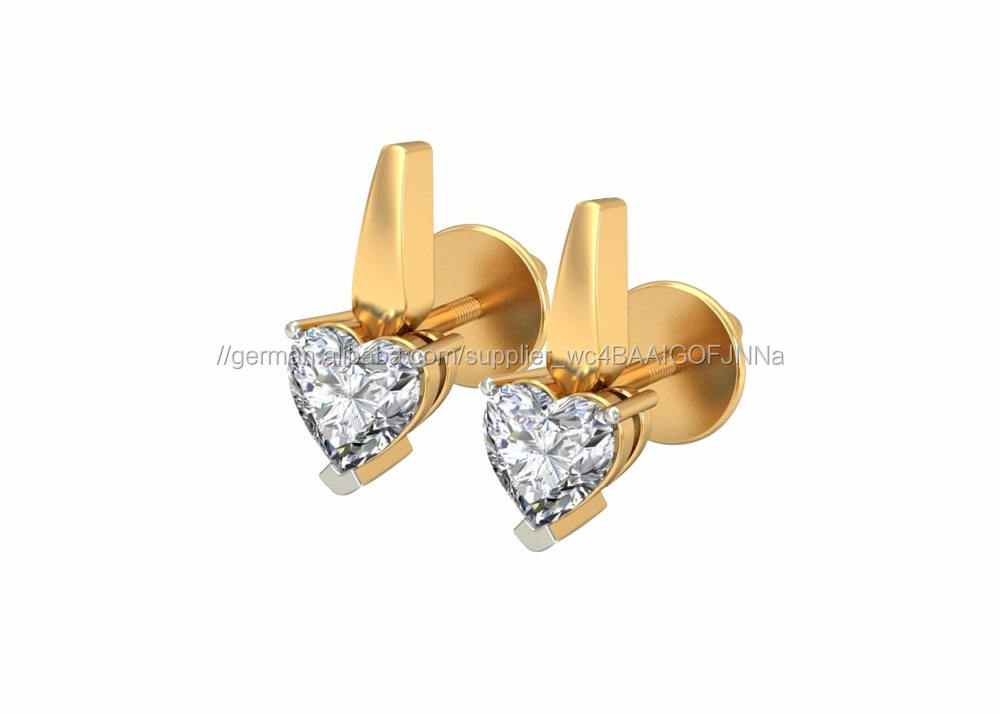 Vergoldete Fantastische CZ Solitaire Herz Ohrringe