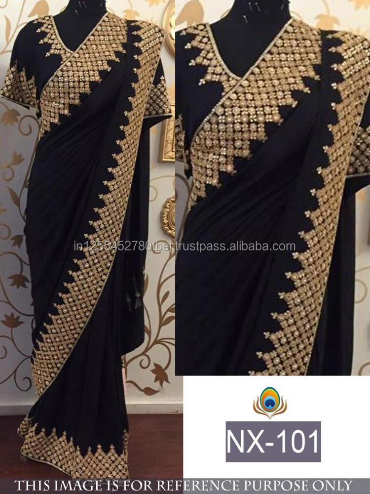 結婚式の摩耗インドサリーボリウッドデザイナーブライダルサリレディースドレス