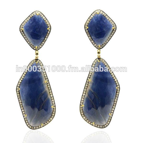 18 k oro Pave Diamond Blue Sapphire cuelga los pendientes hechos a mano estilo Vintage piedras preciosas joyas <span class=keywords><strong>de</strong></span> proveedor mayo
