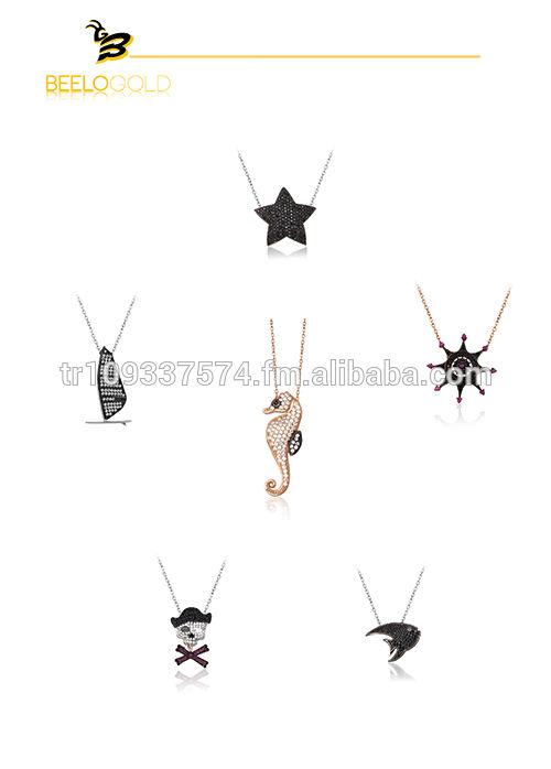 Beelo серебро 925 К серебряная звезда море Hourse компас пираты череп под парусом Лодка для рыбалки ожерелье