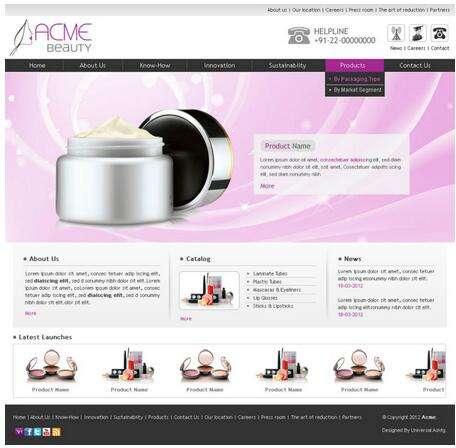 Веб-сайт онлайнового торгового шаблоны для мешок магазин парфюмерии, дизайн сайта