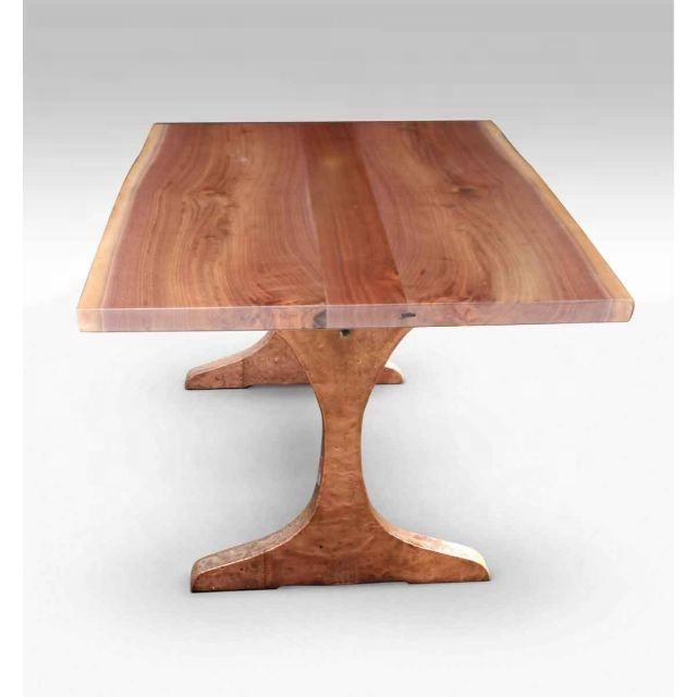 Indian Acacia Solid Wood Industrial Heavy Live Edge Top Rustic Finish Folding Legs Dining Table