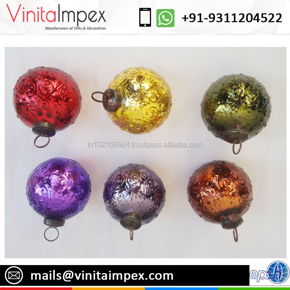 VIXM14020 Mercure Verre <span class=keywords><strong>En</strong></span> <span class=keywords><strong>Relief</strong></span> Balle Arbre De Noël Ornements