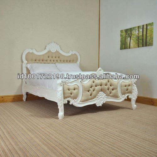 Estilo francés tapizados madera tallada rococó cama marco para muebles de dormitorio