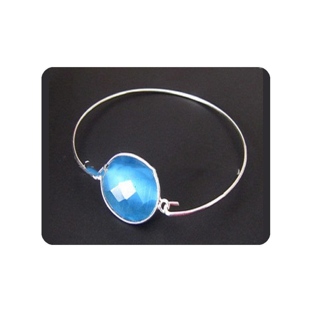Indien 925 En Argent Sterling Bleu Hydro Quartz Pierres Précieuses Bracelets