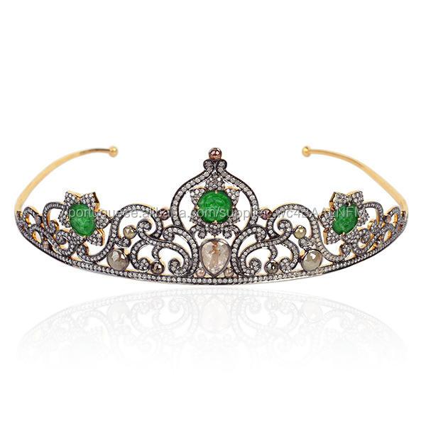 18kt Ouro 925 Prata Diamante Tiara e Coroa Cabeça Escultura Jade Jóias Jóias