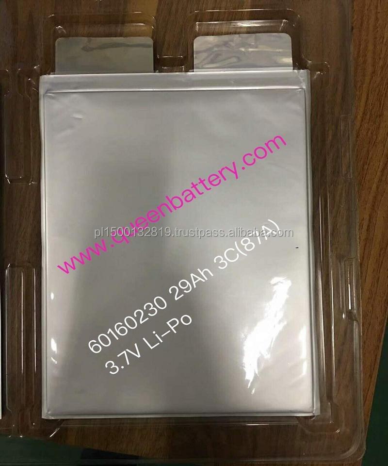 li-polymer li-po 60160230 3.7V 3.6V 29Ah high power high drain 3C 87A battery cell