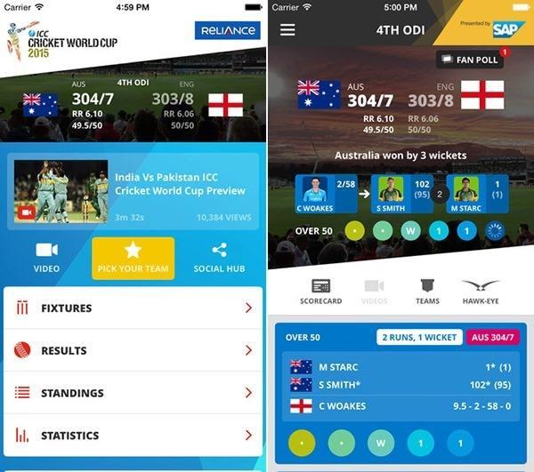On-line крикет новости приложение развития