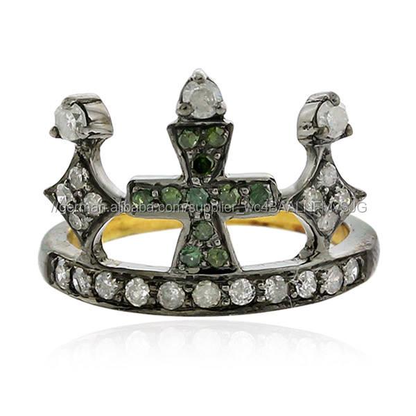 Pave Diamond Gold 18kt 925 Sterling Silber Midi Ring Schmuck <span class=keywords><strong>Gemco</strong></span> Großhandel