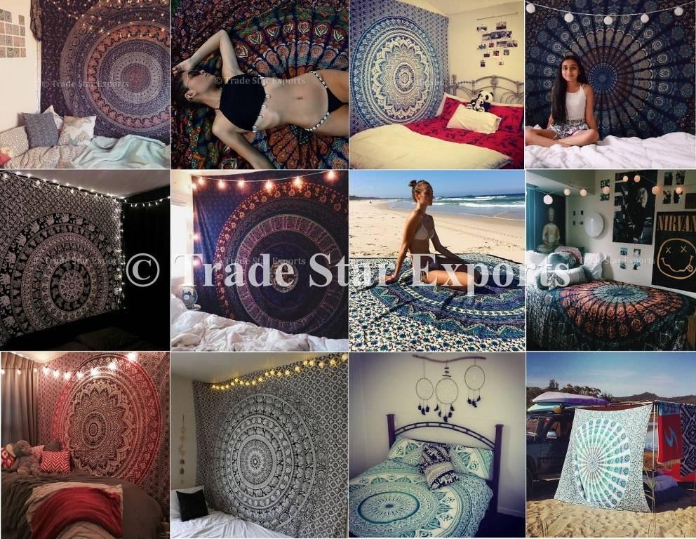 Decoración de tela de algodón al por mayor impreso hippie mandala indio tapices tapiz