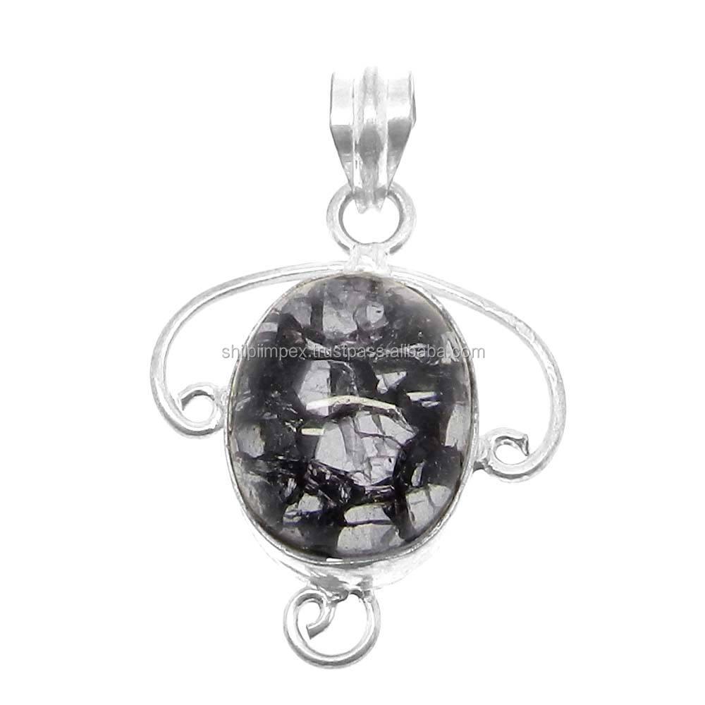 Crack crackle glass oval đá quý 925 sterling bạc nhà thiết kế trang sức bezel pendant SIPN0454