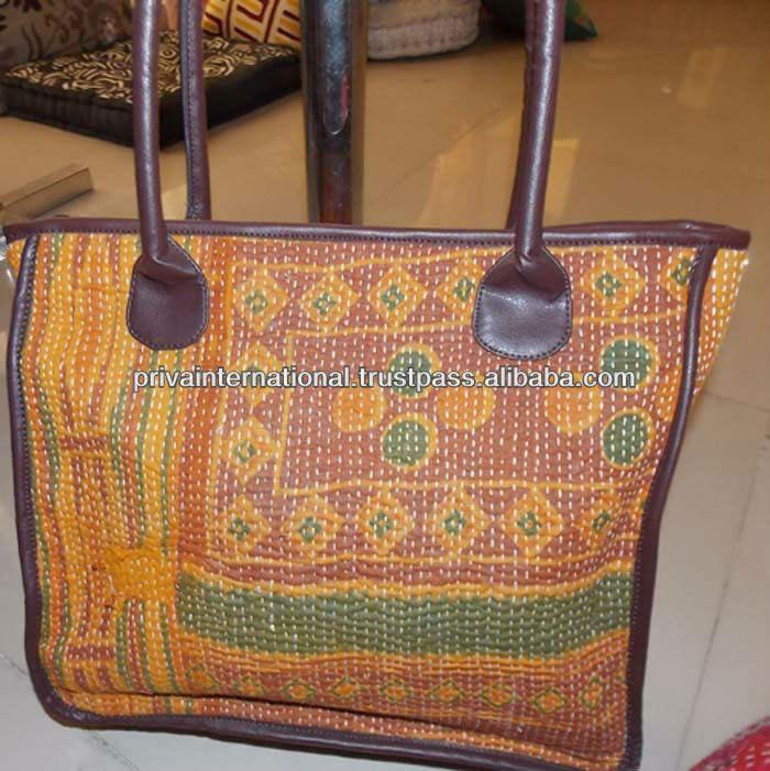Hecho a mano vintage kantha sari patchwork ~ sadhu bolsa directamente desde el fabricante en la india a precios reducidos