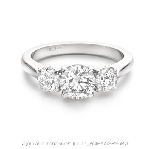 Certified 1.70 Tcw SI1 Clarity 100% Real Natural White Diamonds 18Kt White Gold Unique Wedding Ring at Worldwide free Shipping