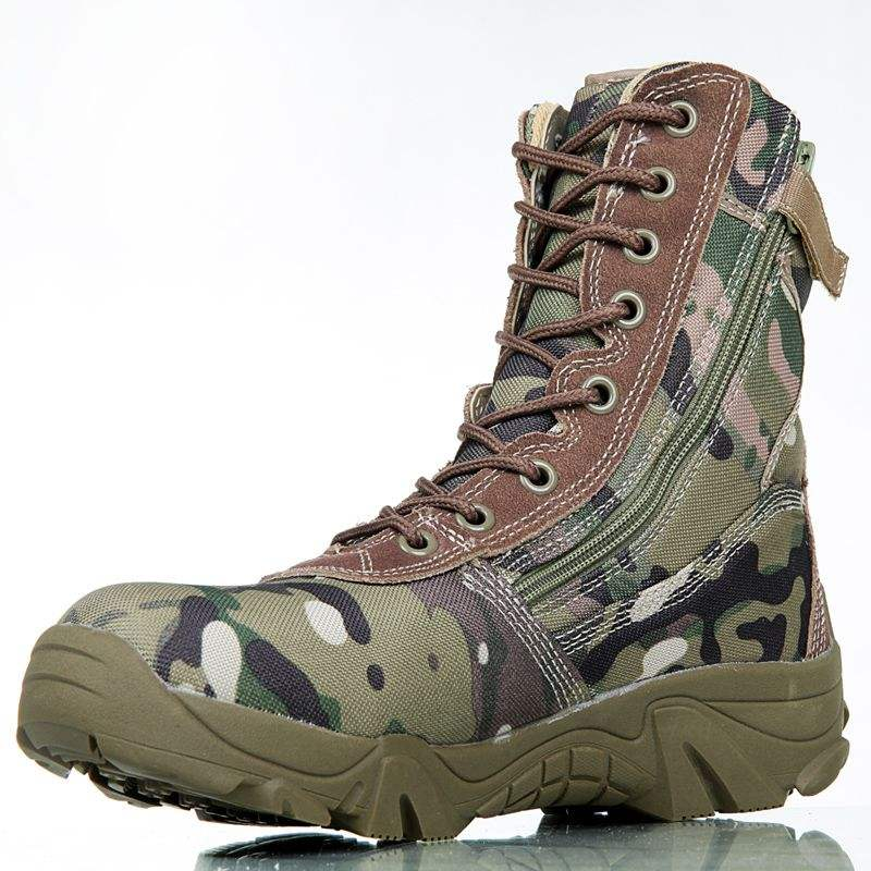 Camouflage boots military army cowhide leather factory manufacturer