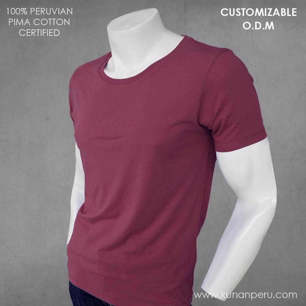 100% peru pima cotton blank t-shirt customizable. ODM SERVICE. Made in Peru