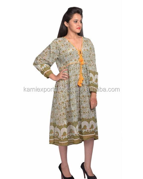 2018 India Jaipur hechos de karni del pavo real étnico impreso vintage vestido maxi largo para las mujeres