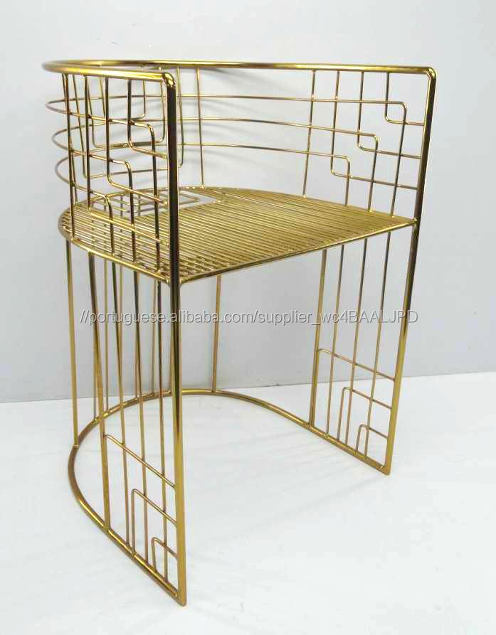 Banhado A ouro Fio de Metal Cadeira de Salão
