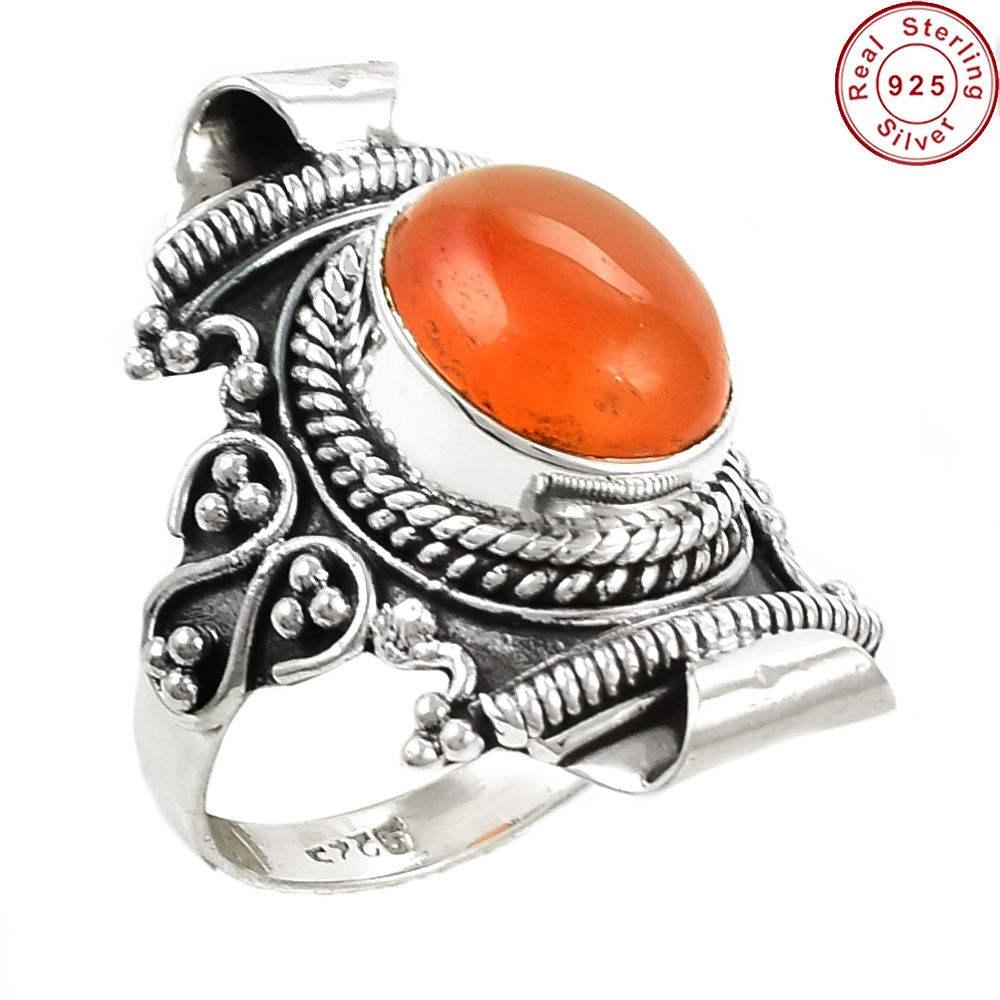 Naturel rouge Cornaline pierres précieuses anneau grossiste bijoux en argent indien 925 sterling argent lunette anneau bijoux