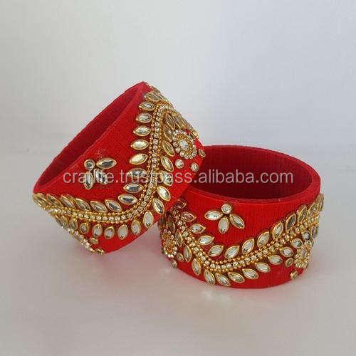手作りファッションジュエリー絹糸kundanバングルセット、絹糸インドkundan腕輪メーカー