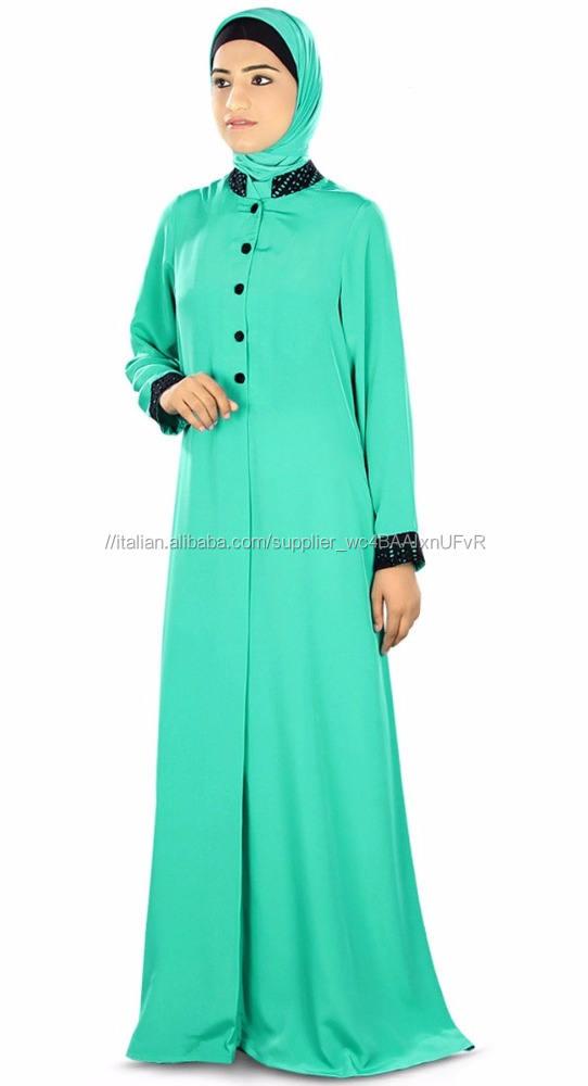 Colore verde Progettista <span class=keywords><strong>Abaya</strong></span>-Crepe <span class=keywords><strong>Abaya</strong></span>/Burqa
