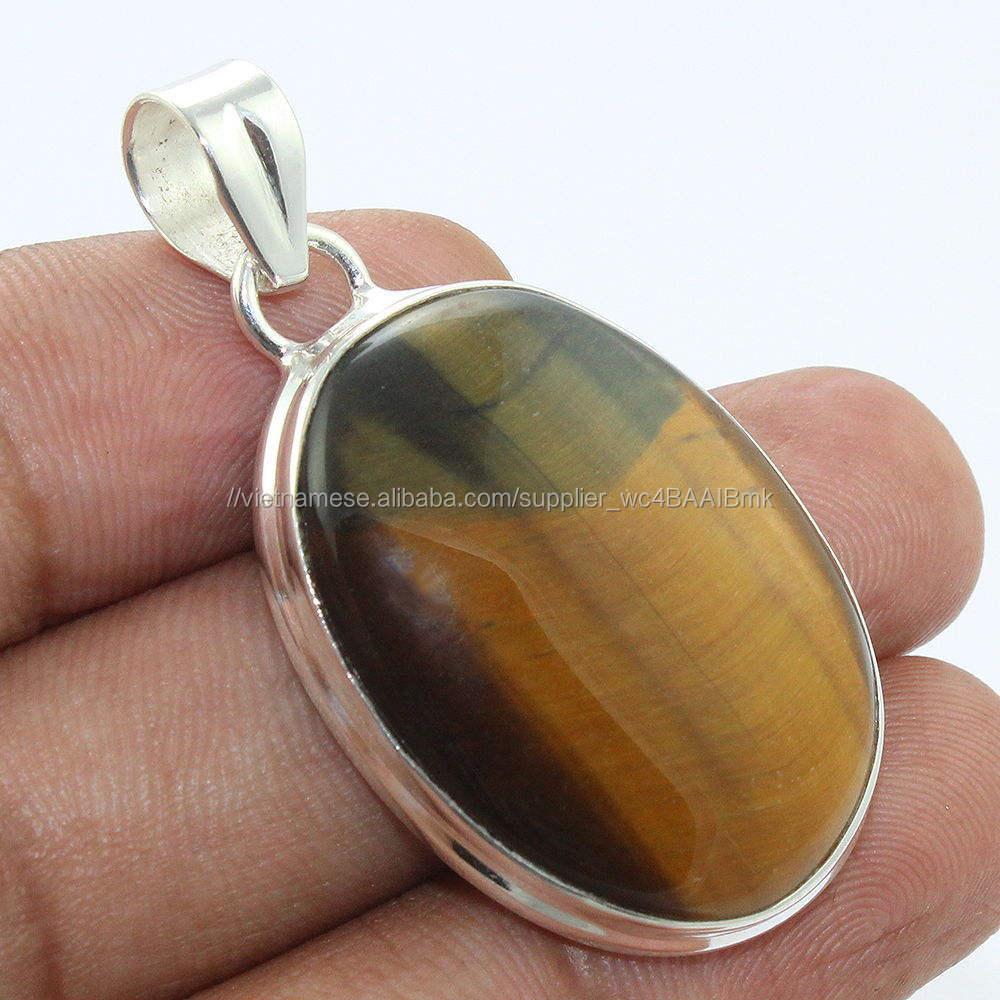 Cao hoàn thiện đá quý ngọc mắt mèo 925 sterling bạc mặt dây chuyền bezel thiết trực tuyến đá quý bạc trang sức