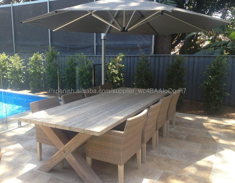 TECA mesa de comedor conjunto 8 plazas ratán sintético material de mimbre muebles de exterior