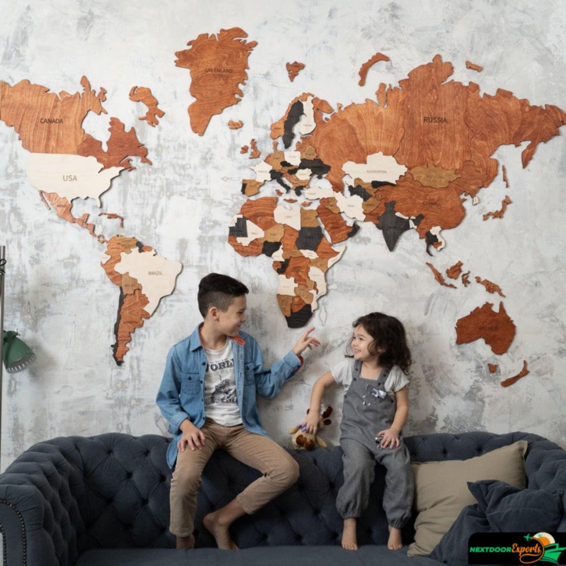 Decoración de la habitación de los niños regalo para niño y niña pared 3D de madera educativo mapa regalo