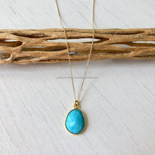 Turquoise gemstone 925 sterling silver Gold vermeil pendant